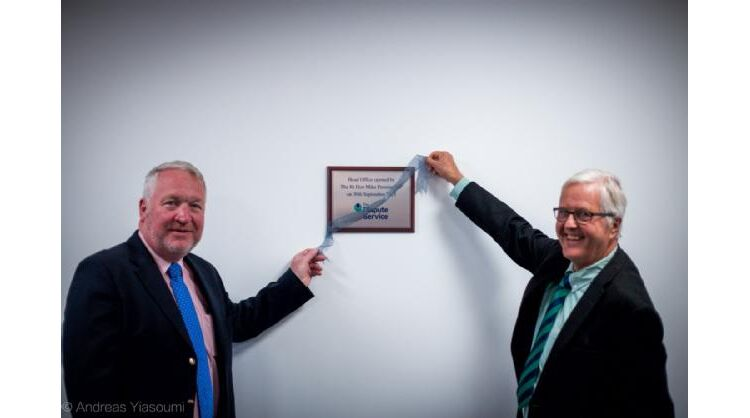 Mike Penning MP & Martin Partington with a plaque to commemorate the opening of TDS' office