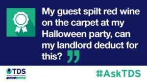 image saying My guest spilt red wine on the carpet at my Halloween party, can my landlord deduct for this?